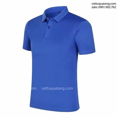Phôi áo thun có cổ – poly thái – màu xanh dương đậm