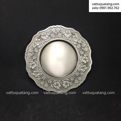 Phôi dĩa kim loại bạc đồng hoa dâm bụt 21cm