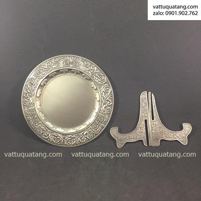 Phôi dĩa kim loại bạc đồng hoạ tiết 20cm