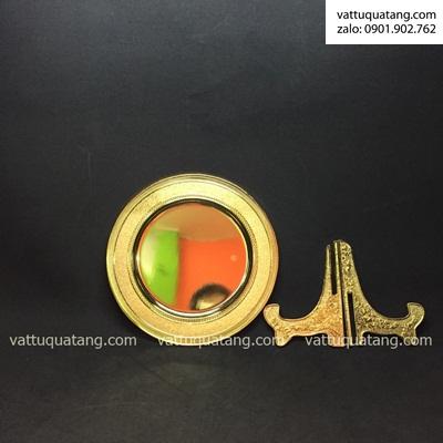 Phôi dĩa kim loại vàng bóng hoạ tiết xoắn 20cm