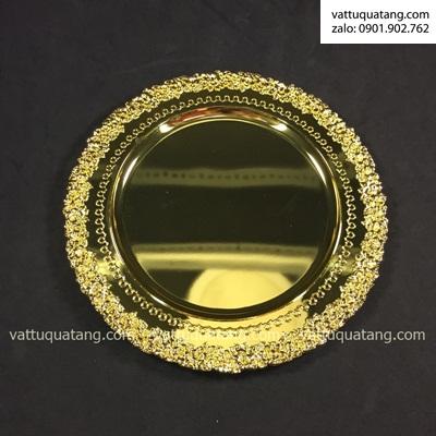 Phôi dĩa kim loại vàng bông mai bóng 21cm