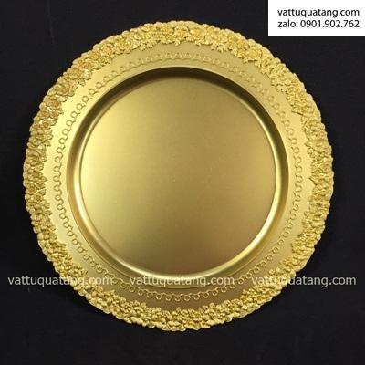 Phôi dĩa kim loại vàng bông mai mờ 21cm