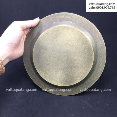 Phôi dĩa kim loại tròn D02 vàng đồng hoạ tiết 20cm