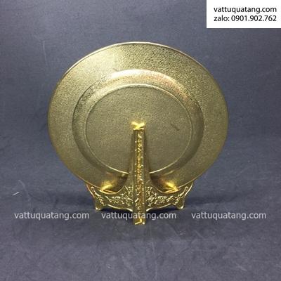 Phôi dĩa kim loại tròn vàng bóng viền hoa hồng 20cm