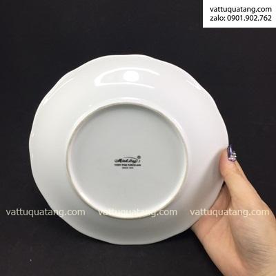 Phôi dĩa sứ tròn mẫu đơn viền bạc 18cm – in chuyển nhiệt