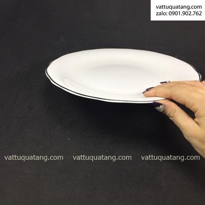 Phôi dĩa sứ tròn mẫu đơn viền bạc 25cm – in chuyển nhiệt