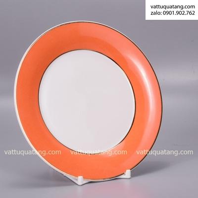 Phôi dĩa sứ tròn viền cam