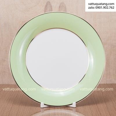 Phôi dĩa sứ tròn viền xanh lá