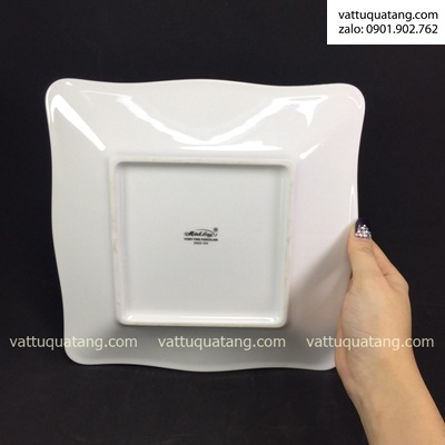 Phôi dĩa sứ vuông mẫu đơn viền bạc – in chuyển nhiệt
